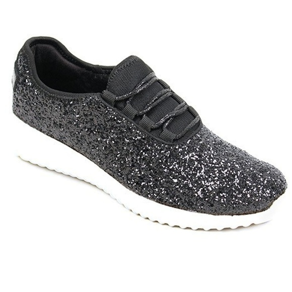 d3ceb54dcdef New Womens Black Glitter Sneakers Tennis shoes